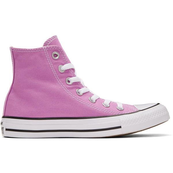 Converse Purple Classic Chuck Taylor All Star OX High-Top Sneakers (70 CAD) ❤ liked on Polyvore featuring shoes, sneakers, purple, converse high tops, converse trainers, lace up sneakers, purple high tops and purple shoes