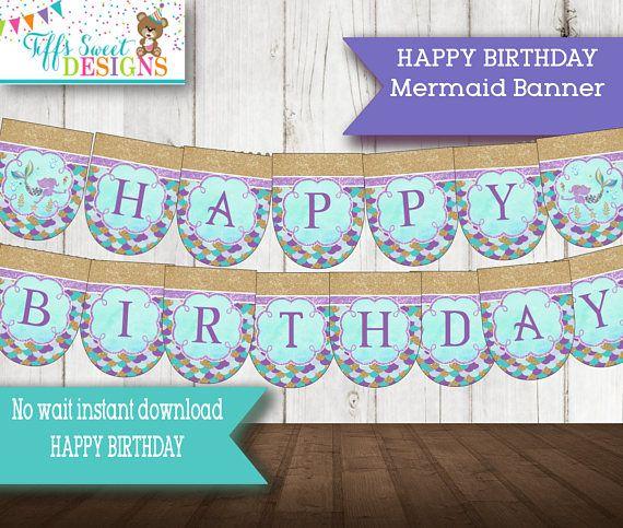 Mermaid Party Birthday Party HAPPY BIRTHDAY Banner  Instant