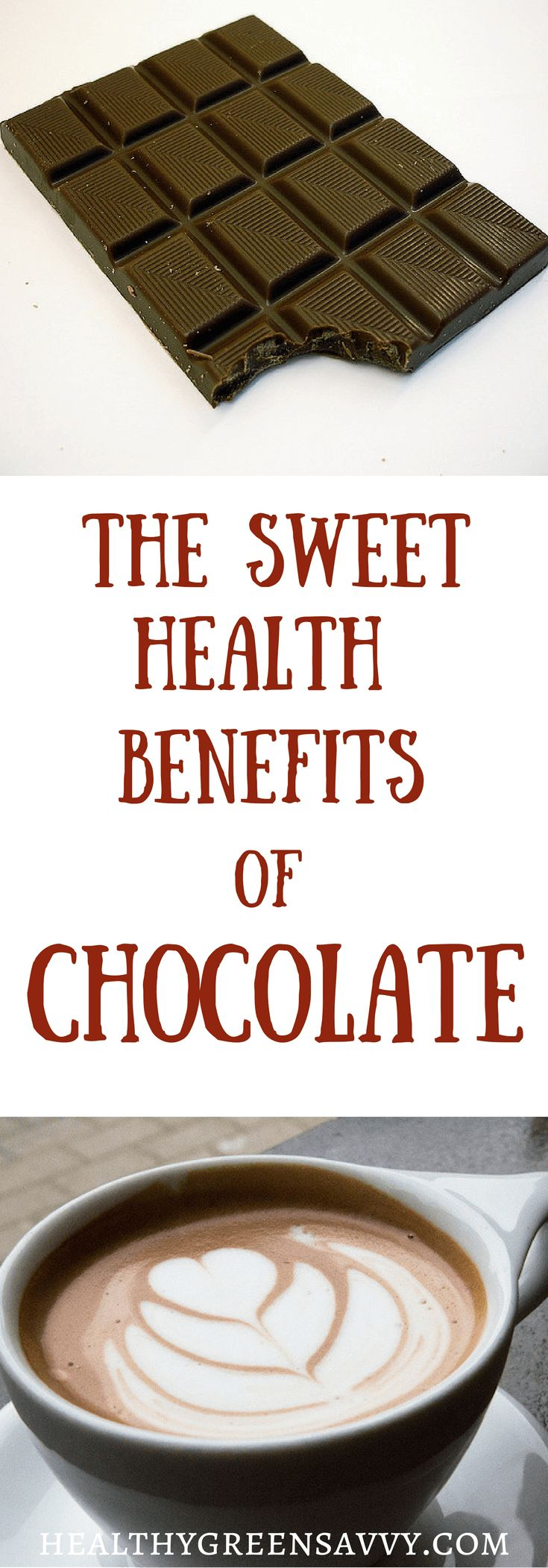 Health benefits of chocolate -- Chocolate has some impressive health benefits! Should you be eating more chocolate? Click to read more or pin to save for later. Healthy treats | Chocolate health benefits