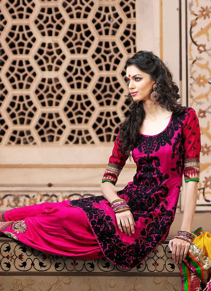 Magenta Silk Patiala Suit
