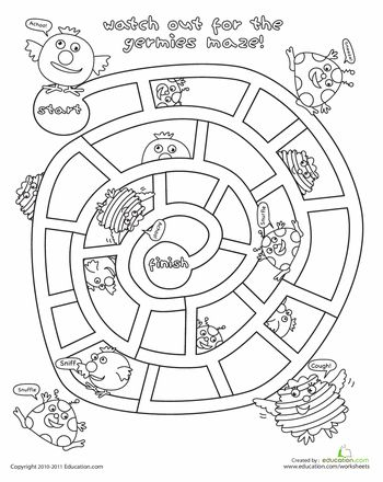 Avoid The Germies Maze Germs For Kids School Health