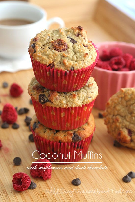 Coconut Raspberry Chocolate Chip Muffins #lowcarb #glutenfree Swap in coconut sugar for the erythritol to make #paleo