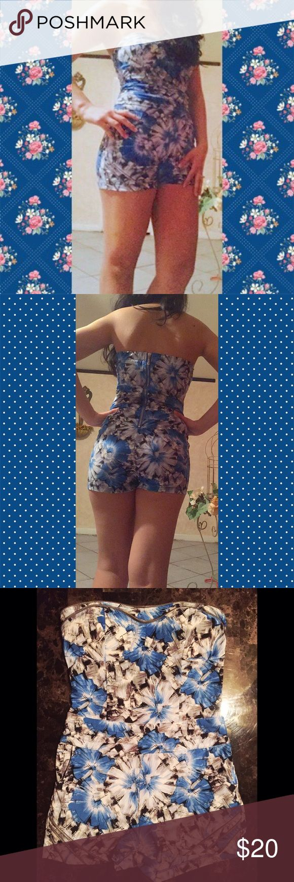 Floral Romper Sexy & Perfect for Spring Tight fitting, great for a curvy body. Super comfortable. Floral print in blues, grays, and black. Zipper in the back. Very stretchy! Like-New 💙 Bought at a boutique near me, you won't see a romper like this one. Size Large but more like a S-M curvy. Other