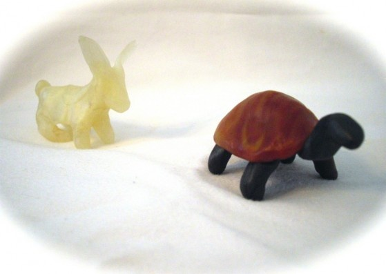 Age 08 ~ Aesop's Fables ~ The Tortoise and the Hare ~ beeswax model