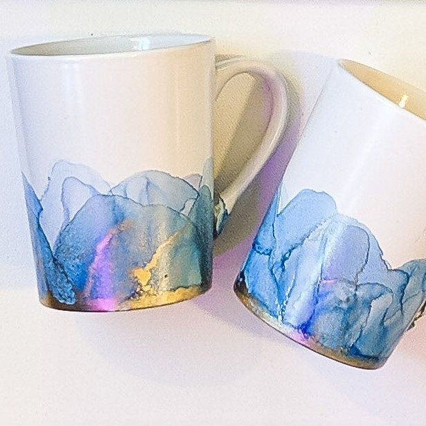 New Customizable Hand Painted Mugs Alcohol Ink Painting