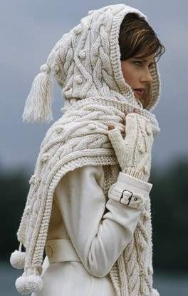 Chunky cream cable knitted hooded scarf/wrap
