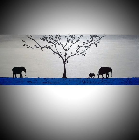 "original abstract animal art acrylic original landscape ""elephants of the sudan 2"" africa animal painting art canvas - 121 x 40 cm"