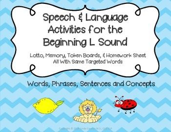 This packet contains cute, colorful, fun, and motivational activities that may be used to help early childhood and kindergarten students practice the L sound at the beginning of words, improve phonemic awareness, learn basic concepts, as well as many other communication skills.
