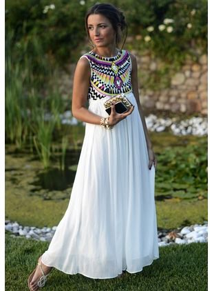 Polyester Sleeveless Maxi Casual Embroidery Dresses (1012419) @ floryday.com
