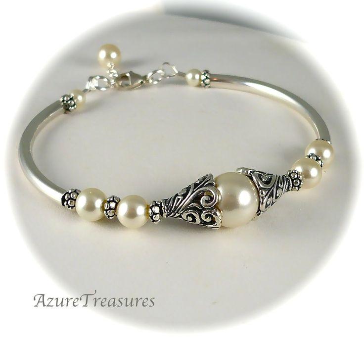 Bali Pearl Bracelet, Pearl Bangle, Antiqued Filigree Sterling Silver Bangle Bracelet Bridesmaids, Bridal, Wedding Jewelry. $45.00, via Etsy.