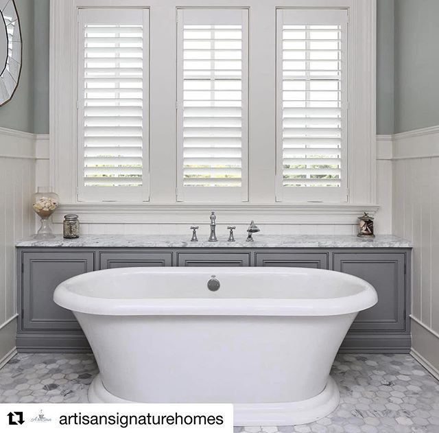 Saturday morning soak. No bathroom is complete without moisture resistant wall panelling and waterproof shutters. The winter white and grey work perfect together #inspire #shutters #shuttersdublin #hamptonsstyle #freestandingbath #winterwhite #greyinterior #bathroomshutters