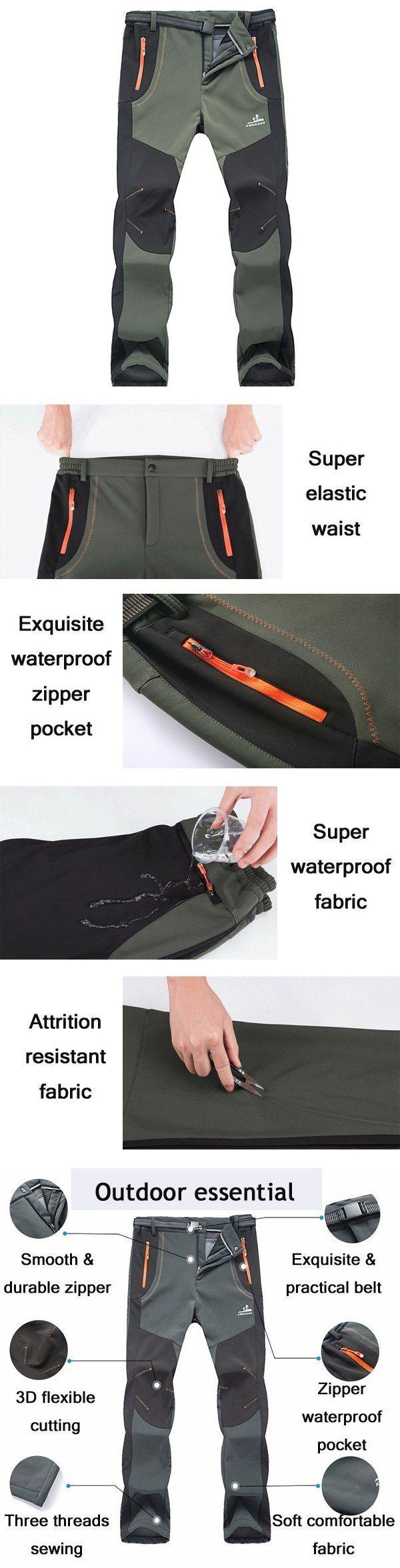 US$33.32#Mens Outdoor Sport Pants Elastic Waist Soft Shell Warm Fleece Lining Waterproof Quick-Dry Trouser