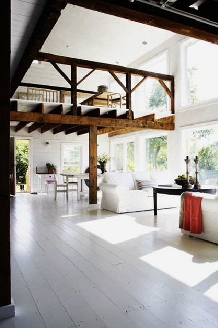 white wood floors, so airy and beautiful