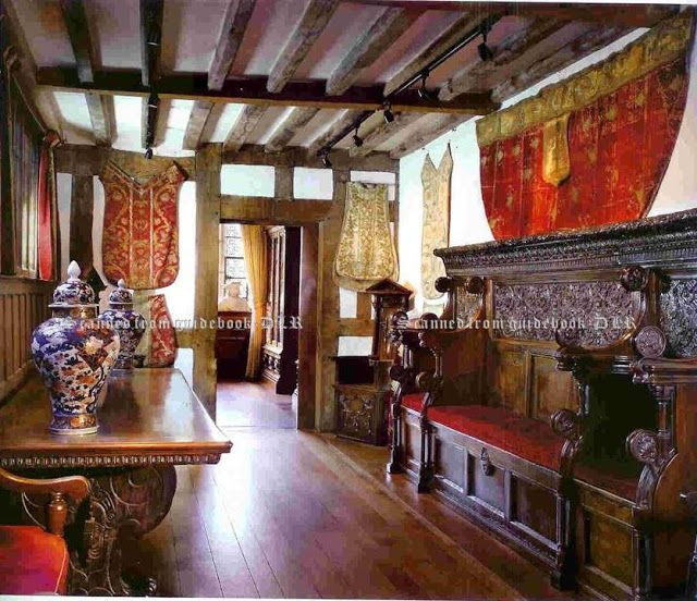 Entrance Hall of Hever Castle, Kent, England, UK. The Entrance Hall was added to the fifteenth century manor house in c.1506 by Thomas Boleyn, Anne Boleyn's father. Original timbers can be seen in the earlier doorway, directly opposite the current entrance. | http://www.hevercastle.co.uk/