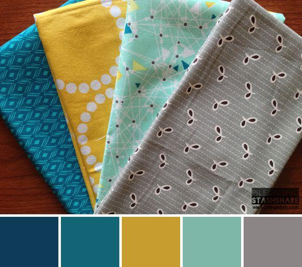 This bundle includes (left to right) Flea Market Fancy, Urban Mod, Lizzy House Pearls, Modern Bliss. Coordinating Kona Cotton for color palette (not shown) Kona Steel, Kona Celadon, Kona Yarrow, Kona Everglade, Kona Windsor. Pile O' Fabric Stash Share