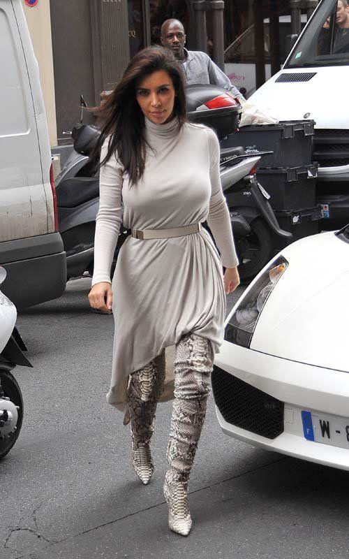 ROCK IT OR NOT: Kim Kardashian's Christian Louboutin 'Lili' Thigh-High Boots in Roccia Python