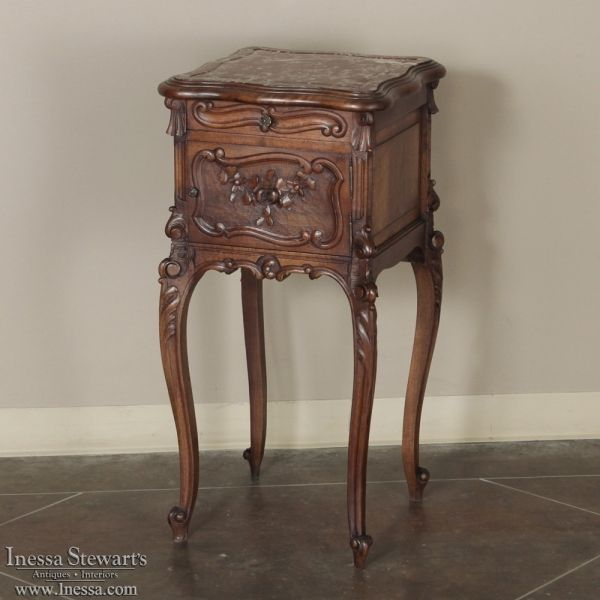 Antique Bedroom Furniture | Nightstands | 19th Century French Louis XV Walnut Nightstand | www.inessa.com