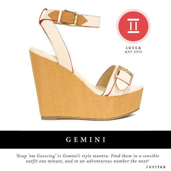 I am a gemini and about 2 weeks ago i saw this shoe in the site and i just had to get it..i fell in love with it and now i see you have it for my sign...coincidence????