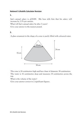 Past Paper questions relevant to N5 Lifeskills maths with solutions for exam revision. Does not cover the full course but is a good start.