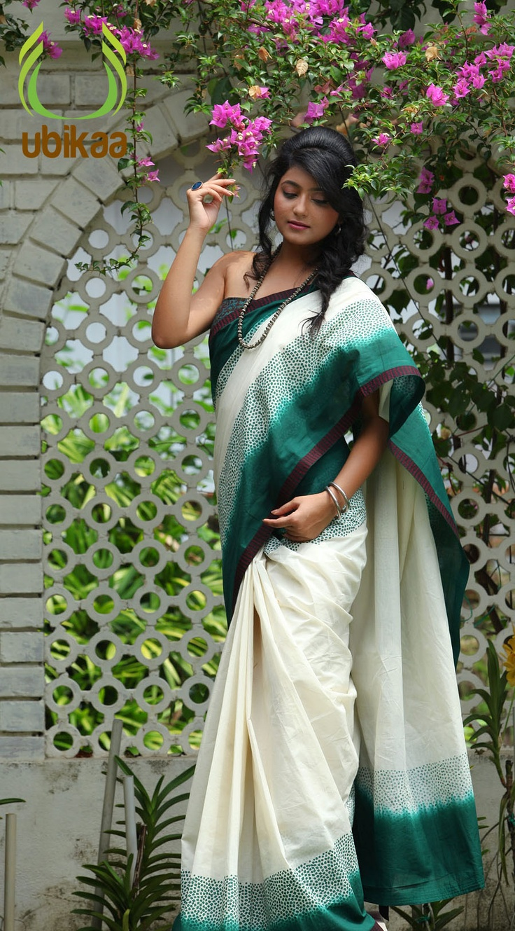 The colour version of the Five and a half yards of sheer elegance in Kerala Cotton Fabric using tie and dye technique with block printing.