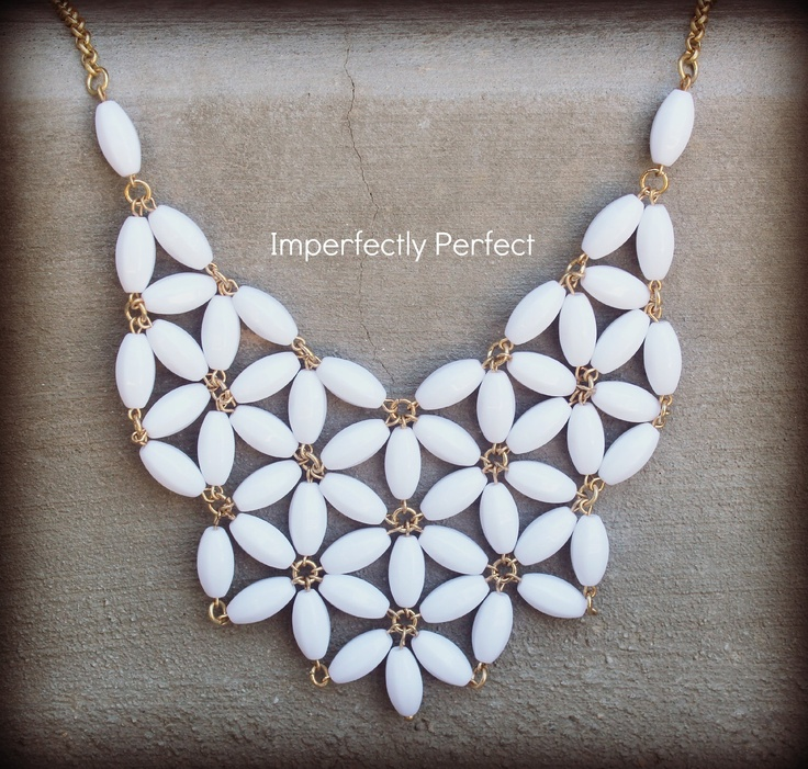 Bright White 39.00 Handmade Statement Necklace. $39.00, via Etsy.