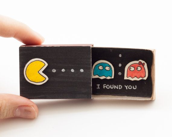 "Pacman Love Card/ Geeky Anniversary Card/ ""I found you"" / Matchbox"