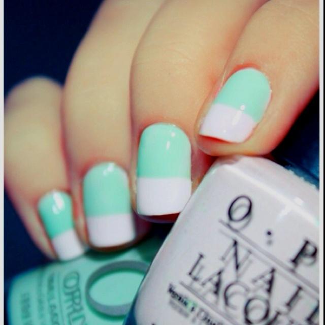 Nails, nails, nails!: Mint Green, Nails Art, Nails Design, Mint Nails, Color Combinations, White Nails, French Tips, Nails Polish, French Nails