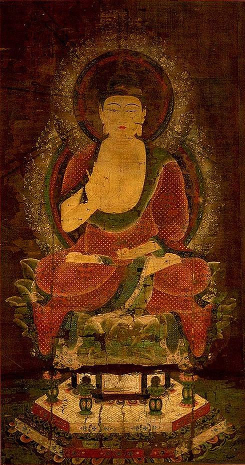 Shaka Nyorai (Sakya Tathagata) , Hanging scroll, color on silk  Proportions: 159.4 x 85.5 cm  Late-Heian Period (12th Century)  National Treasure  (Jingo-ji Temple, Kyoto) , Kyoto National Museum. This scroll is the only extant Heian Period Buddhist painting that depicts Shaka alone. This painting has been called Aka Shaka (Red Sakyamuni) because of the color of the robes. It can be regarded as the finest depiction of a nyorai (Tathagata) of the Heian Period Buddhist paintings.