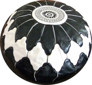 Large Moroccan Leather Ottoman, Black and White by Moroccan Design - mediterranean - ottomans and cubes - Etsy