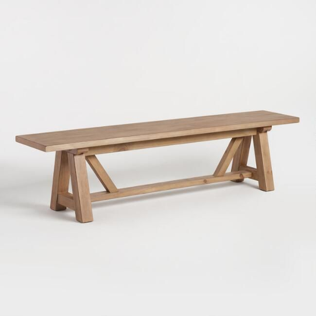 Wood Leona Farmhouse Dining Bench | World Market
