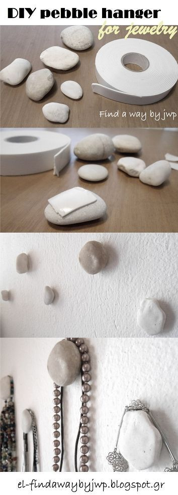 120752833733586832 DIY Pebble Hangers for Jewelry. Ok this is really cute. I would just be concerned it wouldnt hold my heavier necklaces.