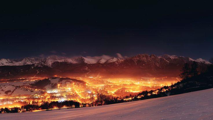 landscape, mountain, lights ,night
