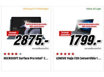 """Knaller: 110 Prozent Geld zurück für 2in1-Notebooks - bis zu 287 Euro Gewinn https://www.discountfan.de/artikel/technik_und_haushalt/knaller-110-prozent-geld-zurueck-fuer-2in1-notebooks-bis-zu-287-euro-gewinn.php Bei Mediamarkt ist eine äußerst attraktive Geld-zurück-Aktion für 2in1-Notebooks mit Intel-Core-Prozessoren der 6. und 7. Generation gestartet: Bei """"Nichtgefallen"""" kann man den Rechner zurückgeben und erhält 110 Prozent des Kaufpreises erstattet"""