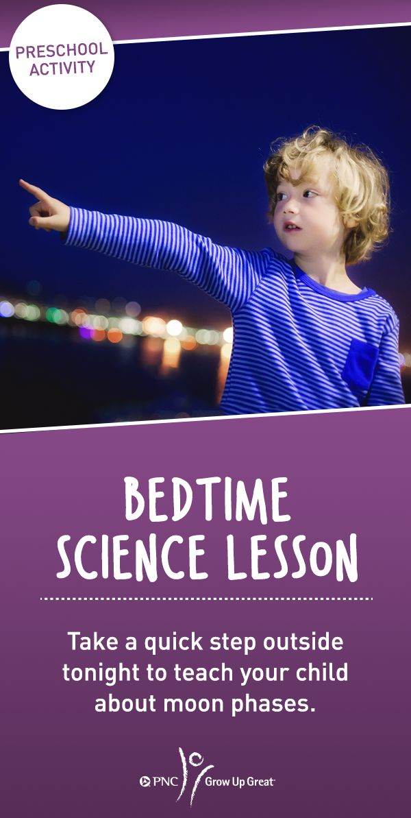 Use this simple lesson idea to work some learning into your children's bedtime routine. Together, take a look at the moon each night for a week and have your children draw its shape. Then, talk to them about how the shapes indicate the moon's phases. For more lesson plans, check out PNC Grow Up Great®.