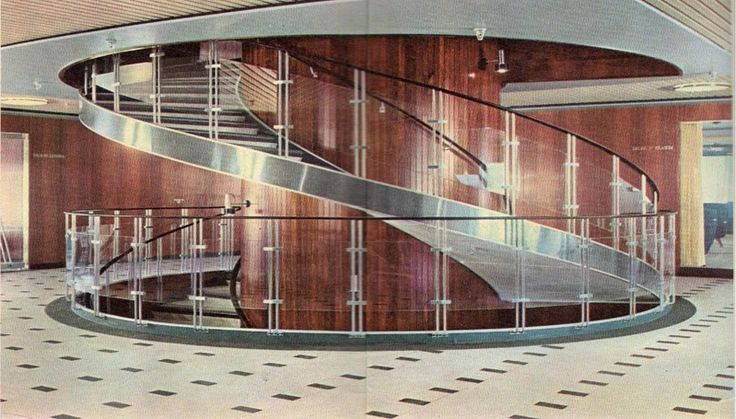 First class Staircase aboard the liner Funchal (c1961).