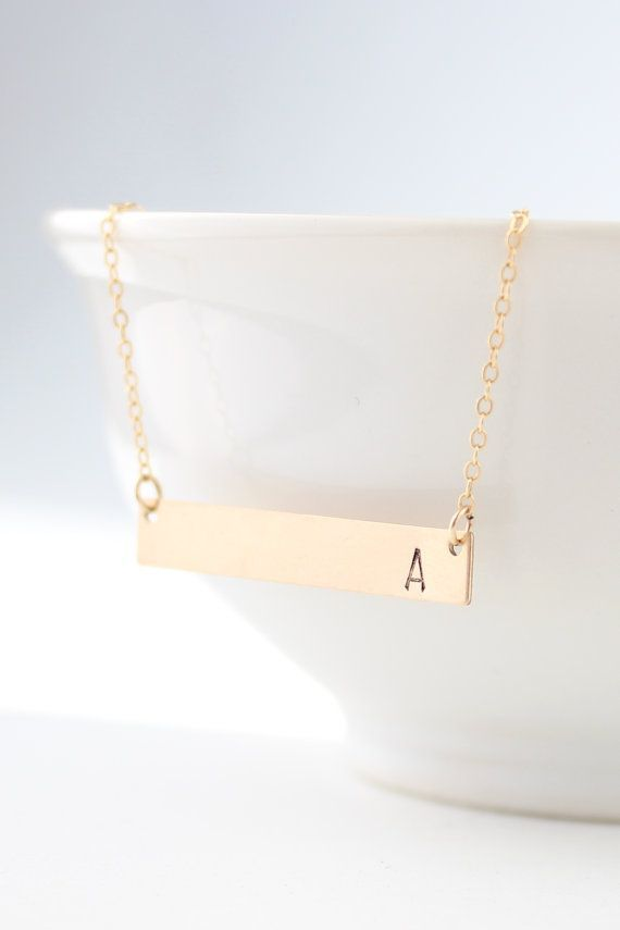 With a Z. Gold Bar Necklace Gold Bar Initial Necklace.