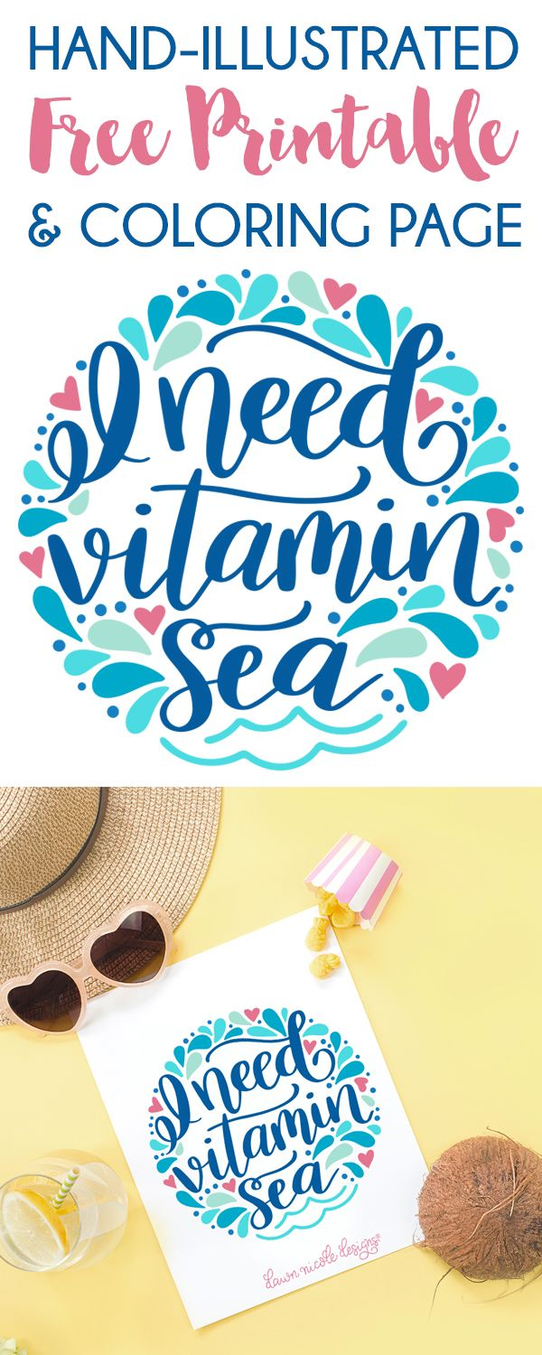 Vitamin Sea Free Printable + Coloring Page. A hand-illustrated art print coloring page for those that share my love of the ocean.
