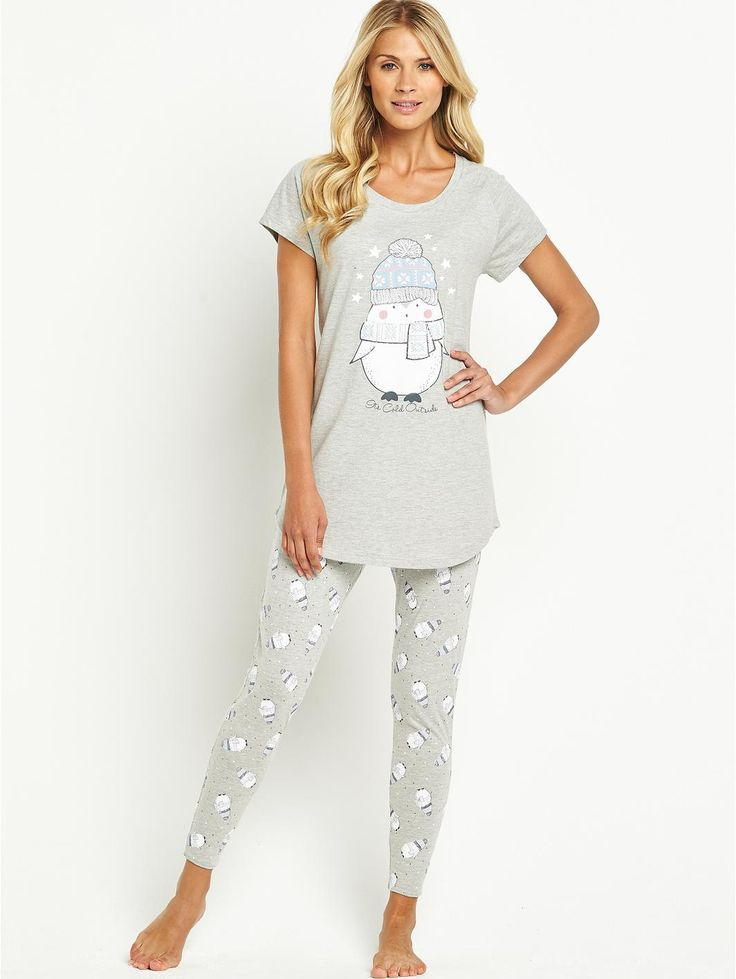 Sorbet Penguin Pyjamas. Features an all over printed penguin legging set with an oversized tee top with the words 'It's cold outside'. Colour: Grey. 88% cotton, 12% polyester. Machine washable.