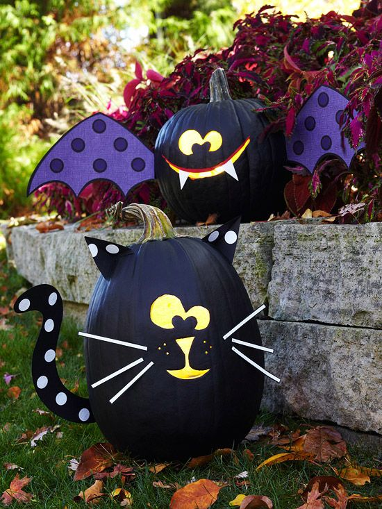Pumpkins painted to look like black cats and bats.Pumpkin Ideas, Painting Pumpkin, Painted Pumpkin, Halloween Pumpkin, Cat Pumpkin, Pumpkin Decor, Scrapbook Paper, Spooky Halloween, Black Cat