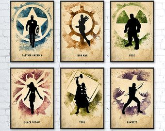 Avengers Inspired Minimalist Movie Poster Set by BigTimePosters