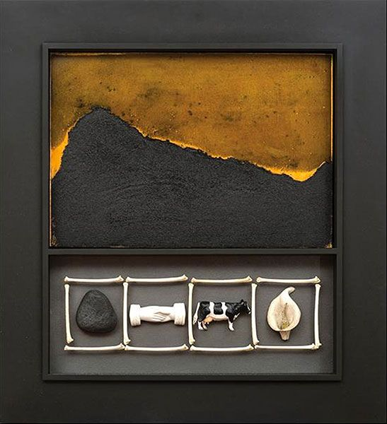 Peter Tilley  Response #18 2014  Carborundum intaglio, found objects, lead, painted timber 74.5 x 57 x 5cm Collaborative work with Andy Devine