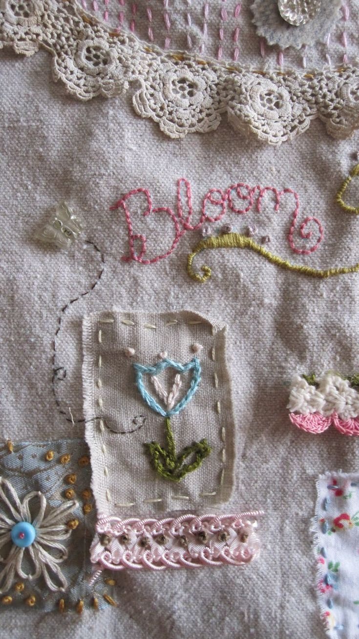 Free-style Spring Sampler by Kelli Flitton.  Embroidery, fabric collage