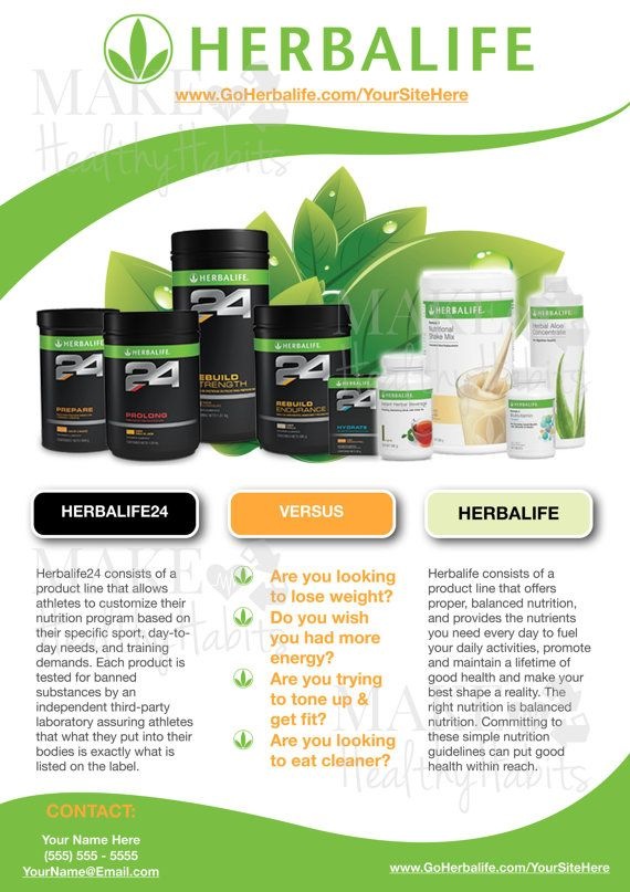 Custom Print-Ready Herbalife Contact Flyer by KellyLynnetteDesigns