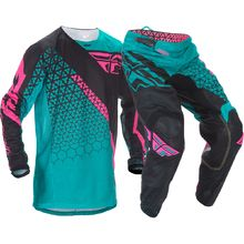 Fly Racing Kinetic Mesh Trifecta Teal/Pink Gear Set