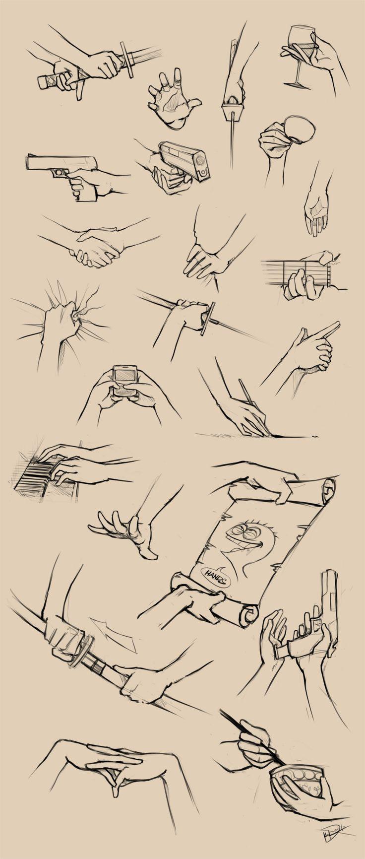 dibujar manos cogiendo objetos, espada y sables