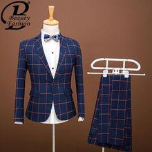 2016 nieuwe collectie man blauw plaid pak formele bruidegom suits met broek tuxedo voor mannen maat slim engeland man pak 3XL(China (Mainland))