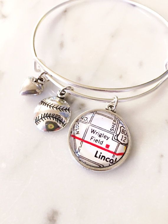 Chicago Cubs Wrigley Field Map Charm Bracelet - Go Cubs Go - Fly the W - Chicago - Wrigleyville - Baseball Fan - Cubbies - Cubs Win