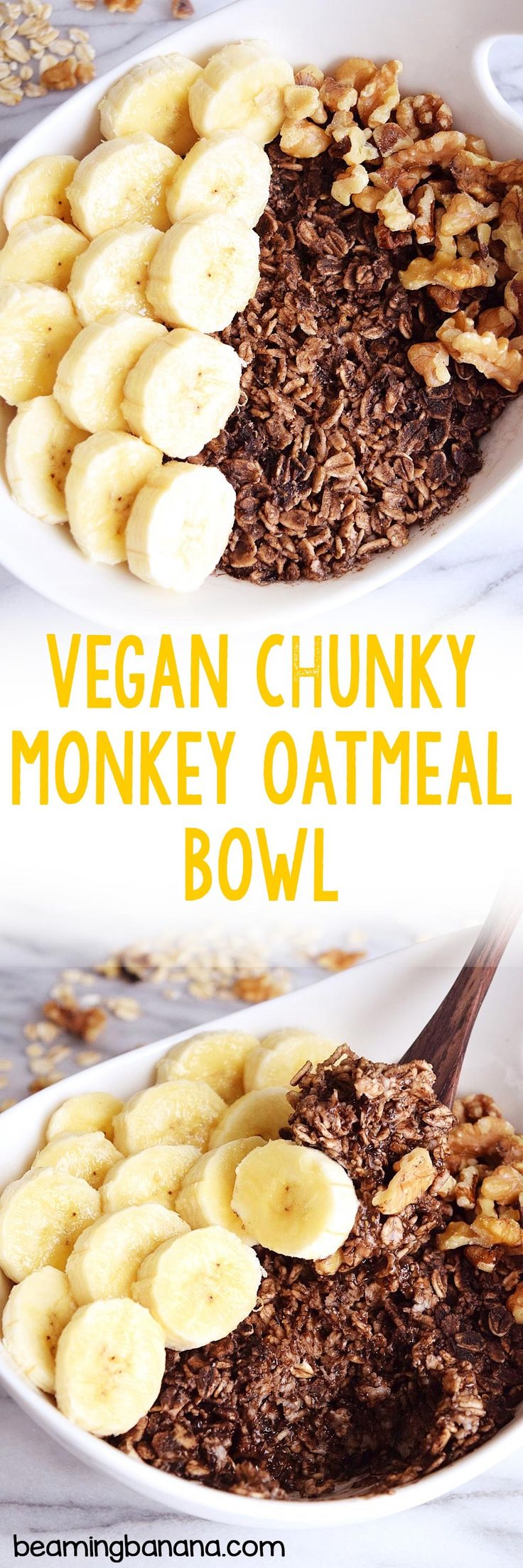 This vegan chunky monkey oatmeal bowl is a dreamy combination of chocolate, banana, and nuts, all in a healthy, satisfying breakfast bowl!