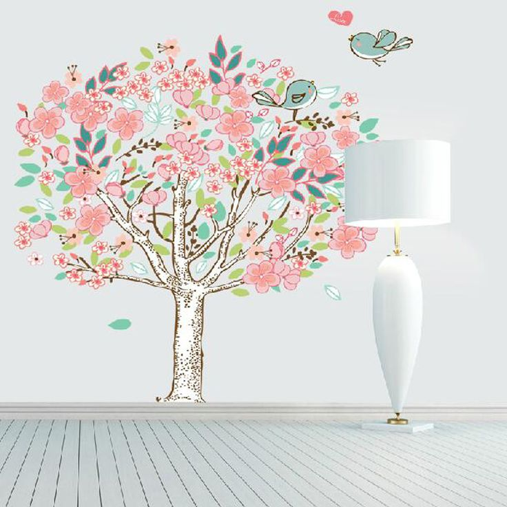 2016Sale colorful tree cute birds large wall stickers kids rooms decor vinyl wall decals removable mural art wallpaper poster
