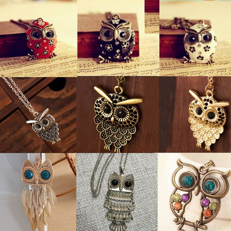 Fashion 2016 Korean Bronze/Gold/Silver Long Pendant Sweater Necklaces Chain Cute Vintage Retro Owl Necklace Animal Women Gift